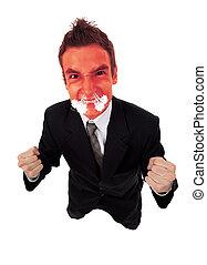 negócio, zangado, rosto, explodindo, vermelho, homem