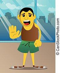 negar, mostrando, refugo, gesture., mão, ou, homem
