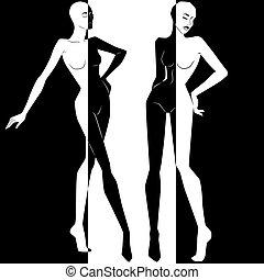 negatief, twee, ruimte, positief, vrouwen, elegant