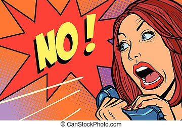 negation., dzwonić kobiecie, krzyki, nie