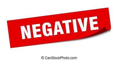 negative., carrée, signe., négatif, éplucheur, sticker.