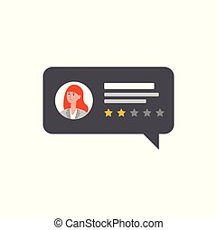 Negative customer review on isolated rectangle speech bubble with cartoon woman avatar