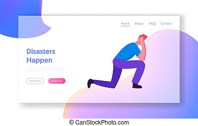 Negative Emotion, Stress Website Landing Page. Young Frustrated Businessman Standing on Knees Holding Head