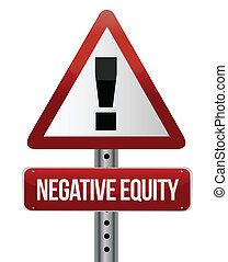 negative equity sign illustration design over white