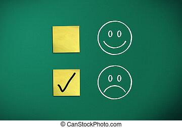 negative feedback rapresentated by emoticons on green chalk...