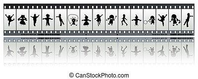 Negative film strip with children