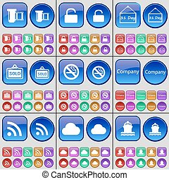 Negative films, Lock, Plate, Sold, No smoking, Company, RSS, Cloud, Ship. A large set of multi-colored buttons. Vector