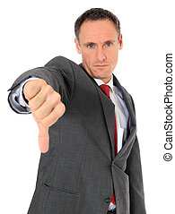 Attractive businessman making negative gesture. All on white background.