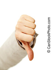 Negative gesture - Image of human hand showing thumb down in...