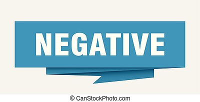 negative sign. negative paper origami speech bubble....