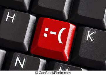 negative smilie on red computer keyboard button showing bad ...