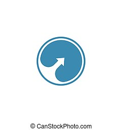 Negative space arrow in a blue circle logo template