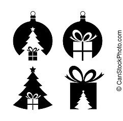Negative space Christmas icons - Simple negative space ...