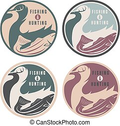negative space concept of hunting and fishing theme, vintage...
