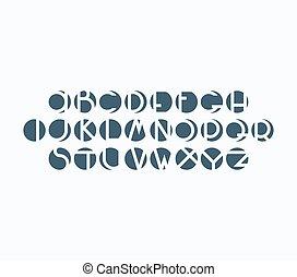 Negative space font, english alphabet, modern design abc.
