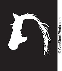 negative space Horse and Woman logo design,Vector silhouette of the horse and girl on white background.