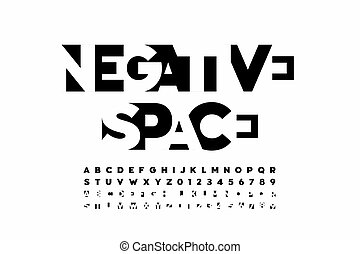 Negative space style font, alphabet letters and numbers ...