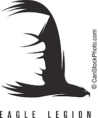 negative space vector concept of spartan head in wing of eagle