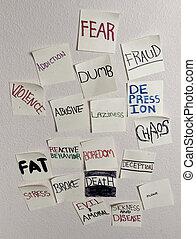 Negative sticky notes on white wall
