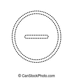 Negative symbol illustration. Minus sign. Vector. Black dashed icon on white background. Isolated.