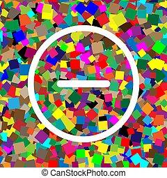 Negative symbol illustration. Minus sign. Vector. White icon on