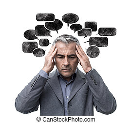 Negative thinking and stress - Pensive stressed man having...