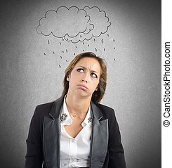 Negative work period - Businesswoman tired of the negative...