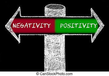 negatividad, contra, flechas, contrario, positivity