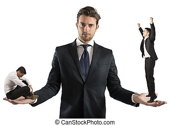 Negativity and positivity - Businessman holds man sad and...