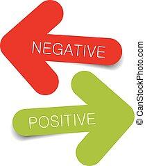 negativo, positivo, ilustração, arro
