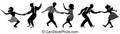 negativo, tre, ballo, set, couples, silhouette