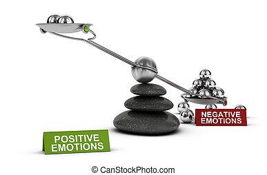 negativo, vs, positivo, emozioni, psicologia, concept.