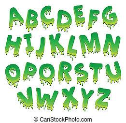 negen, alfabet, beeld, thema