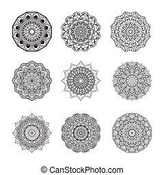 negen, eenvoudig, verzameling, mandalas