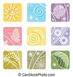 negen, floral, een, etiket