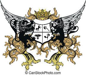 negen, jas, heraldisch, ornament, armen