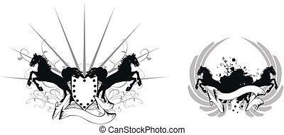 negen, jas, paarde, heraldisch, armen