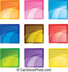 negen, knopen, plein, gekleurde