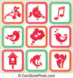 negen, lente, set, vogels, iconen