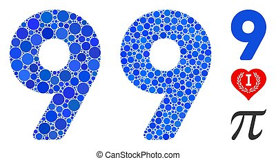 negen, pictogram, cijfer, punten, cirkel, mozaïek
