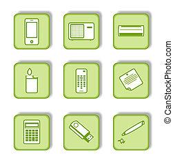 negen, sticker, groene, pictogram
