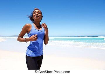 negerin, jogging, strand