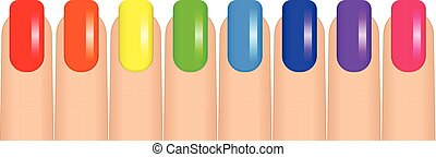 negle, vektor, illustration, farverig