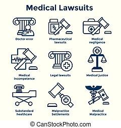 negligencia, médico, lawsuits, y, conjunto, negligencia, icono, farmacéutico