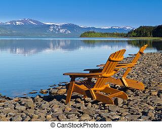 negligenciar, madeira, panorâmico, lago, deckchairs, laberge