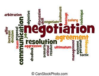 negociação, palavra, nuvem
