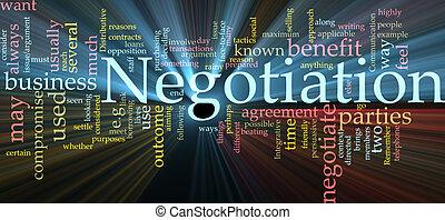 negociación, encendido, palabra, nube