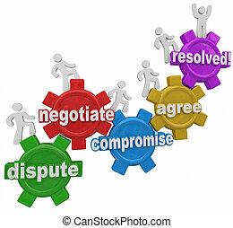 negociación, gente, acuerdo, ge, compromiso, resolución,...