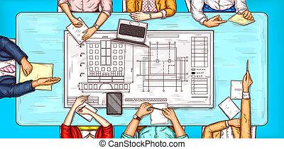 negociación, mujer, arte, sentado, cima, ilustración,...