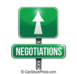 negociaciones, diseño, camino, ilustración, señal